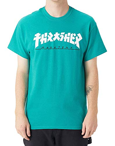 Thrasher Godzilla T-Shirt Jade Mens Skate Brand T-Shirt Mens Skate Marca T-Shirt Verde giada M