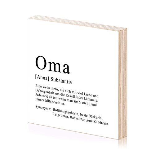 Oma Definition personalisiertes Holzbild 15x15 mit Namen zum Hinstellen oder Aufhängen als Geschenk-Idee zum Geburtstag Geburtstagsgeschenk Wand-Deko