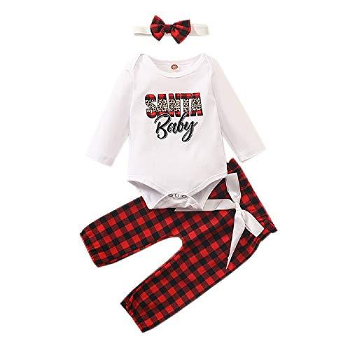 Newborn Christmas Outfits Santa Baby Long Sleeve Romper +Bowknot Red Plaids Pants Pajamas Headband Set (Baby, 0-3 Months)