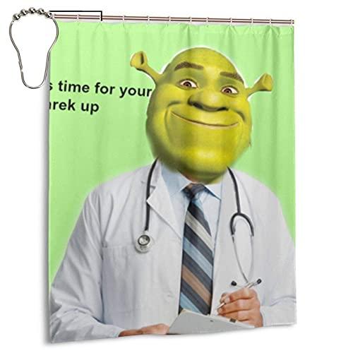 N \ B Shrek Check Up Meme Duschvorhang Wasserdicht Badezimmer mit Haken Heavy Duty Stoff Badewanne Dusche Dekoration 152,4 cm breit x 182,9 cm hoch