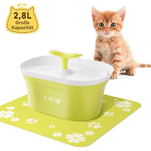 LOETAD Trinkbrunnen Katzen Blumentrinkbrunnen Haustier Wasserbrunnen Automatisch Leise Wasserspender mit Aktivkohlefilter 2,8L (Verpackung MEHRWEG)