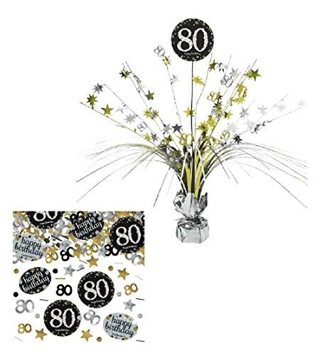 Feste Feiern Tischdekoration 80. Geburtstag I 2 Teile Tischaufsatz Tischaufsteller Kaskade Konfetti Gold Schwarz Silber metallic Party Deko Set Happy Birthday 80