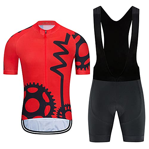 HXTSWGS Jersey de Ciclismo de Manga Corta + Medias de Montar Acolchadas 19D Conjunto de Ropa de Ciclismo de Secado rápido para Deportes al Aire Libre Ciclismo Ciclismo-A02_M