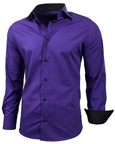Baxboy Herren-Hemd Slim-Fit Bügelleicht Für Anzug, Business, Hochzeit, Freizeit - Langarm Hemden für Männer Langarmhemd R-44, Farbe:Lila, Größe:XL
