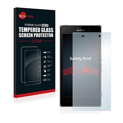 savvies Cristal Templado Compatible con Sony Xperia Z1 C6903 Protector Pantalla Vidrio Proteccion 9H Pelicula Anti-Huellas