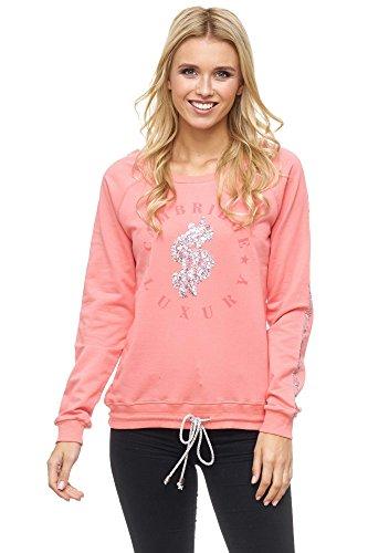 DECAY Damen Sweatshirt Mit Pailletten Motiv Rundhals Langarm Sweatshirt Druck Gerade Unifarben