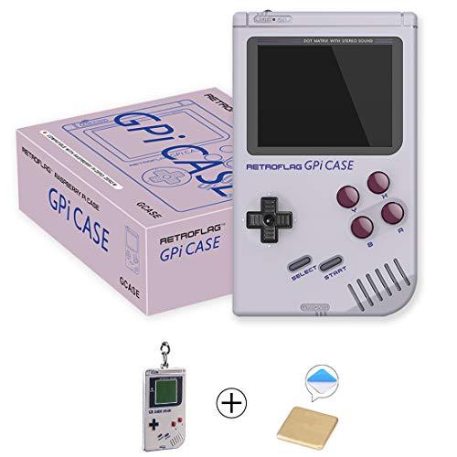 AKNES Raspberry Pi Zero and Zero W Case, Retroflag GPi CASE with Retro Handheld Game Console and Safe Shutdown - a Keychain Piece, Heatsink