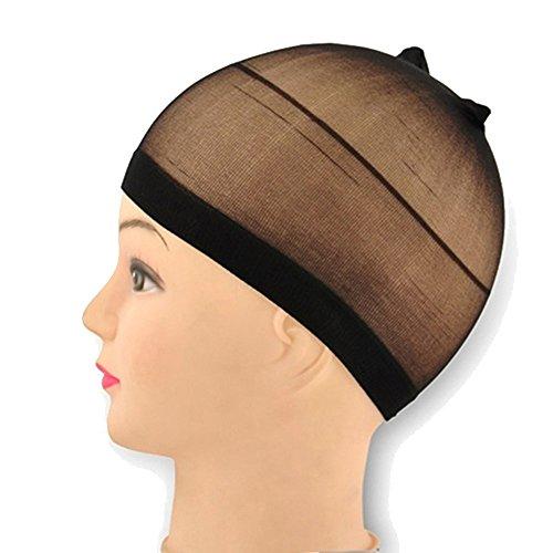 2 pcs Unisexe élastique Perruque de cheveux élastique respirant Chaussette Liner Cap Cosplay Snood