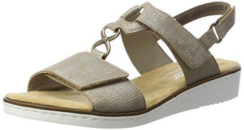 Rieker Damen 63687 Offene Sandalen mit Keilabsatz, Beige (Fango-Silver / 64), 39 EU