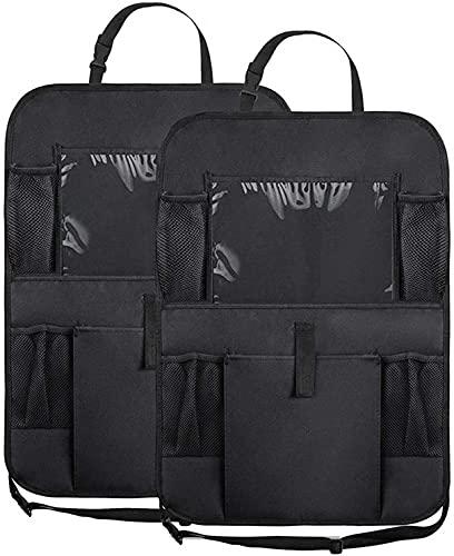 Rongqiang 2 Pack Pack Coche Backseat Organizer, Protector de Respaldo del Asiento de automóvil Plegable con Tableta táctil y Bolsillos de Almacenamiento, para Viajes Accesorios Coche Interior