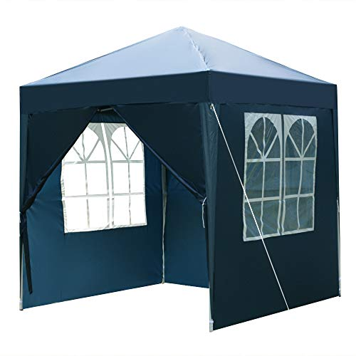 Warme Garden Gazebo Marquee Tent, pop up gazebo 2 x 2m Two Doors & Two Windows outdoor Practical Waterproof Right-Angle Folding Tent Blue