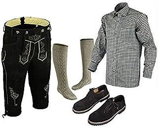 TRENDS Bavarian Oktoberfest Trachten Lederhosen Complete Outfit Black (36)