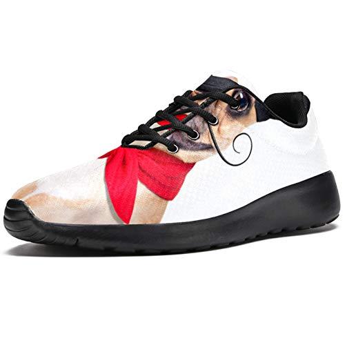 Zapatillas deportivas para correr para mujer Bulldog francés con boina de vino tinto sombrero de moda zapatillas de malla transpirable caminar senderismo tenis tenis, color, talla 38.5 EU