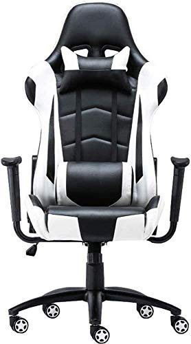 BATOWE Office Chair Swivel Desk Chair Detachable Headrest and Lumbar Pillow Black and White E-Sports Chair PU Executive Mana for Office Lounge Dining Kitchen Bedroom