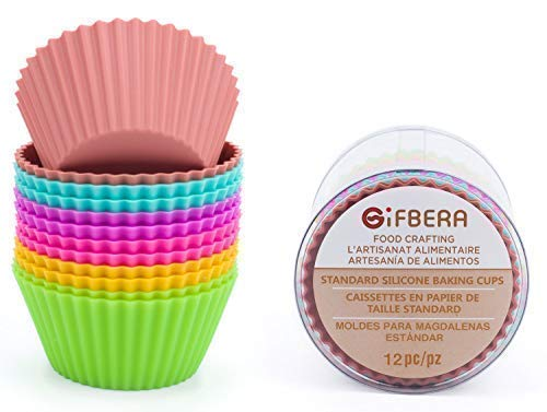 Gifbera Reusable Silicone Cupcake Baking Cups Standard Muffin Molds, 6 Colors, Pack of 12
