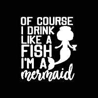 ステッカー剥がし 14.4cm * 16.6cmもちろん私は魚のように飲みます、私は人魚の楽しいビニール車のステッカーデカール黒い銀 ステッカー剥がし (Color Name : Silver)