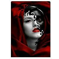 DFGAD Red Woman Face Diamond Embroidery Water Color Animals Diamond Paintings Full Round Diamond Mosaic Portrait
