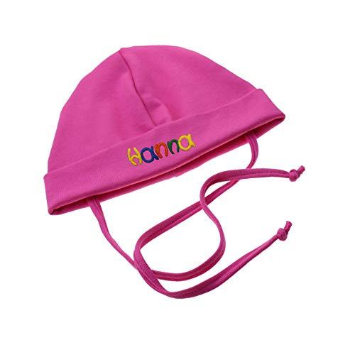 Babymütze mit Namen & Bendel Pink in verschiedenen Größen - Mütze für Babys...