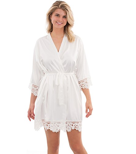 VEAMI Annabelle Lace Satin Robe, Short Robe for Women- White Magnolia- X-Large