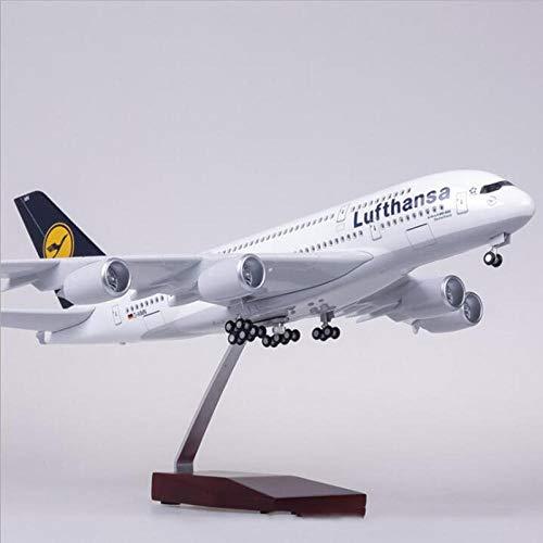 QLRL Colección Diecast 1/160Avión Airbus A380 Lufthansa Modelo de aerolínea con luz y RuedaAviones de Resina plástica