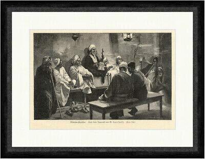 Kunstdruck Märchen Erzähler Herrfurth Turban Orient Wasserpfeife Laute Faksimile_E 2828