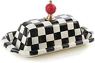 MacKenzie-Childs Butter Dish with Lid Stainless Steel Enamel Courtly Checks Container - Black and White Box – Rectangular - 5
