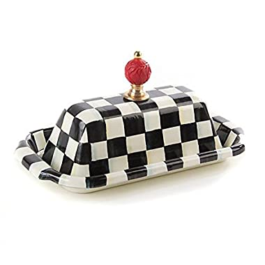 MacKenzie-Childs Butter Dish with Lid Stainless Steel Enamel Courtly Checks Container - Black and White Box – Rectangular - 5  Wide, 9  Long, 4  Tall