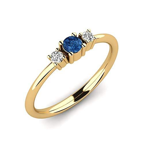 Anillo de compromiso Ajalyn con zafiro AAA de 0,10 ct y diamantes VS de 0,06 ct en oro amarillo 9K 375 + anillo de oro amarillo en un diseño elegante