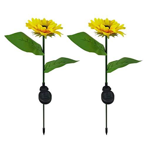 TIREOW 2PCS Sumflower Solar LED Leuchten, Garten Rasenlandschaft im Freien wasserdichte Farbwechsel und Nachtsensor Lampe Gartenlicht, automatisch im Dunkeln aufleuchten