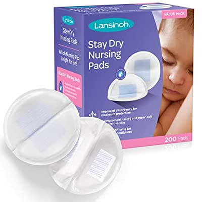 Lansinoh Stay Dry Disposable Nursing Pads for Breastfeeding, 200 Count from Lansinoh Laboratories
