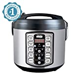 Aroma Housewares ARC-5000SB Digital Rice, Food Steamer, Slow, Grain Cooker, Stainless Exterior/Nonstick Pot, 10-cup uncooked/20-cup cooked/4QT, Silver, Black
