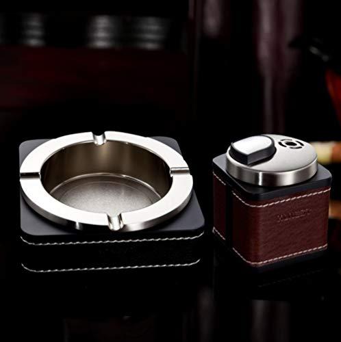 Honest Gute Qualität Luxus Büro Elegant Groß Leder und Metall Stilvoller Aschenbecher mit Feuerzeug Braunes Set