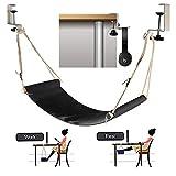 DYHQQ Schreibtischhängematte mit Kopfhörerhalter, Fußhängematte Tragbare, robuste Fußstütze...