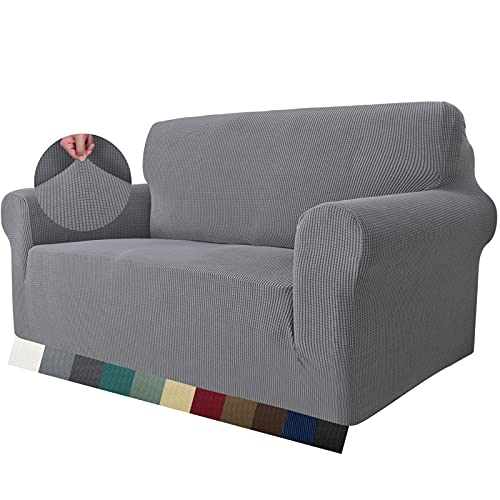 MAXIJIN Super Stretch Couch Cover for 2 Seater Couch, 1-Piece Universal Love Seat Covers Jacquard Spandex Sofa Protector Dogs Pet Friendly Fitted Loveseat Slipcover (2 Seater, Light Grey)