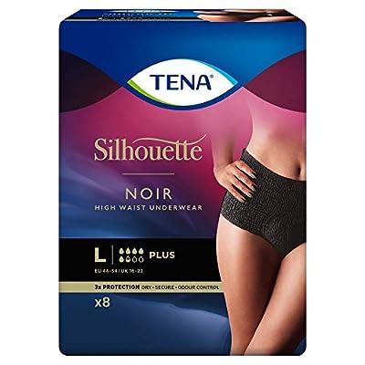 Tena Silhouette Underwear High Waist Plus Black Large 8 Pack