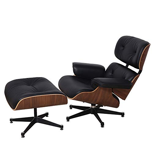 Real Leather Recliner Chair with Ottoman Mid Century Classic Lounge Chair Chaise Armchair Reclining Sofa Laminated Wood and Aluminum Base for Living Room Bedroom Lounge Office?UK STOCK?