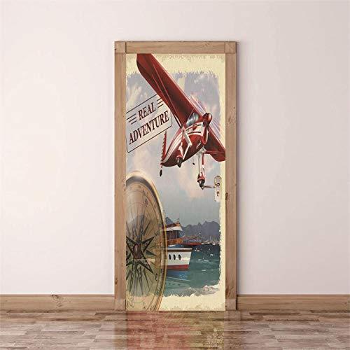 Fantxzcy Dekorative Malerei 3d Türaufkleber Rot Flugzeug Schiff Kompass 95x215cm 3D-Türkunst, abnehmbare Türabziehbilder, selbstklebendes Türwandbild, Türaufkleber für Raumdekor