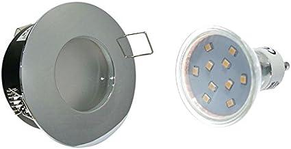 Set van 5 Badkamerspots Aquarus 230 V IP65 in chroom GU10 5 Watt SMD LED Lichtkleur: Warm Wit = 50 Watt