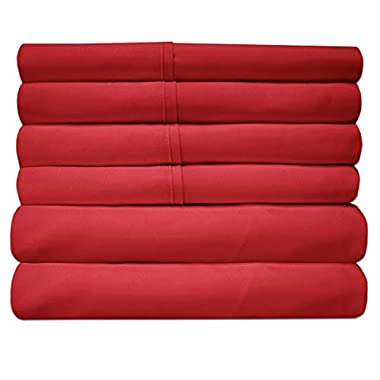 Sweet Home Collection Quality Deep Pocket Bed Sheet Set-2 Extra Pillow Cases, Value, Queen, Samba Red, 6 Piece