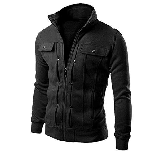 MENHG Mens Solid Color Long Sleeve Thick Warm Fleece Jacket Coat Full Zip Pockets Turtleneck Windproof Bomber Jacket Military Coats Mens Walking Outdoors Cardigan Outwear Sweatshirt Pullover Tops