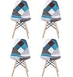 Lot de 4 chaises de salle à manger en patchwork moderne de style nordique avec revêtement en tissu patchwork et cadre en bois de style scandinave