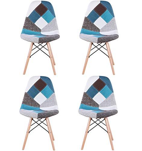 N/A conjunto con 4 sillas de comedor hechas de patchwork moderno en estilo nórdico tapizado con tela patchwork y silla de marco de madera en estilo escandinavo (azul)