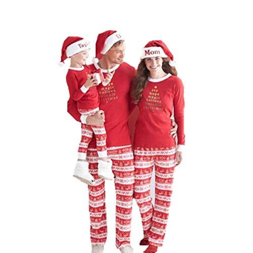 SERAPHY Pijamas Adecuado para familias de Navidad Set Arriba + Pantalones Ropa de Abrigo Ropa de dormir-Kids-14T