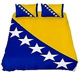 Eslifey Bettwäsche-Set mit Bosnien- & Herzegowina-Flagge, weich, 3-teilig, 150 x 200 cm, für Schlafzimmer