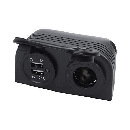 RJJX Cargador USB de Doble Caravana Barco Encendedor del Coche del Divisor del zócalo del Adaptador del Cargador 12V (Color Name : Black)