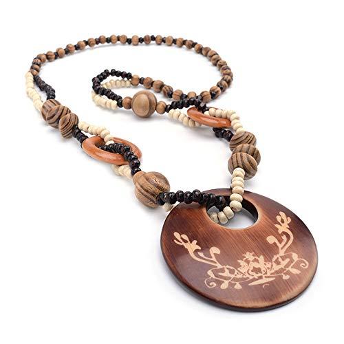 BRTTHYE Vintage Grünland Wind Holz Perlen Langen Pullover Anhänger Halskette Ornamente Geschenk für Frau Mädchen, Länge 64 cm