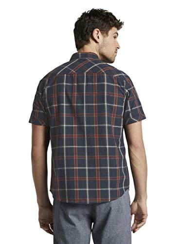 TOM TAILOR Herren Blusen, Shirts & Hemden Kariertes Kurzarmhemd Navy red Big Check,M,21935,6000