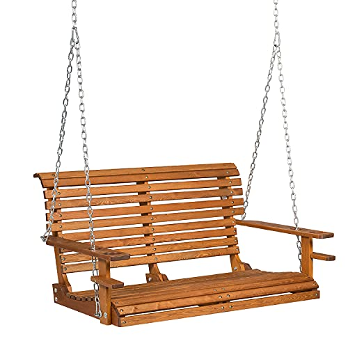 GDLF Porch Swing 4ft Patio Swing Chair Garden Courtyard Hanging Bench with Heavy Duty Chains