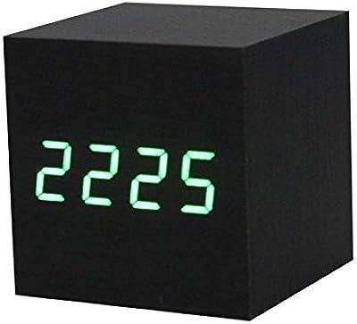 Shuangklei Led Digital De Madera Negro Marrón Reloj Con Alarma Reloj Despertador Control De Voz Dormitorio