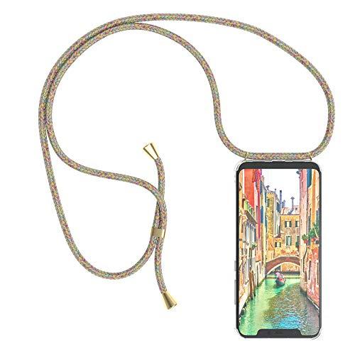 EAZY CASE Handykette kompatibel mit Xiaomi Mi 8 Handyhülle mit Umhängeband, Handykordel mit Schutzhülle, Silikonhülle, Hülle mit Band, Stylische Kette mit Hülle für Smartphone, Rainbow